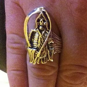 Size 10 Grimm Reaper stainless Ring, skull death